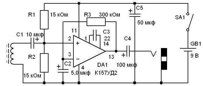Схема детектора скрытой проводки с датчиком магнитного поля