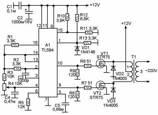 Принципиальная схема импульсного преобразователя напряжения +12V в</p></noscript> <p>220V» width=»450″ height=»330″/> <br/><strong>Рис.3 <i>Принципиальная схема импульсного преобразователя напряжения +12V в</p> <p>«Эквивалентная частота генерации составляет 50 Гц и задаётся величиной сопротивления резистора R5 и ёмкостью конденсатора С5. Резистором R4 регулируется скважность выходных импульсов. Им можно регулировать выходное напряжение. <br/>На выходах микросхемы (выводы 9 и 10) выделяются противофазные импульсы, немного задержанные относительно друг друга, чтобы не вызывать сквозного тока в схеме выходного каскада в моменты переключения. Импульсы поступают на мощные ключевые полевые транзисторы VT1 и VT2. Диоды VD2 и VD3 защищают эти транзисторы от выбросов отрицательной ЭДС на первичной обмотке импульсного трансформатора Т1.</p> <div style=