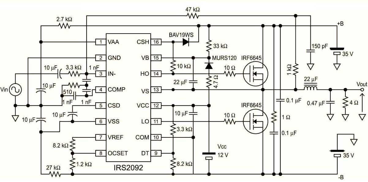 TAS5630 зависимость искажений от вых. мощности